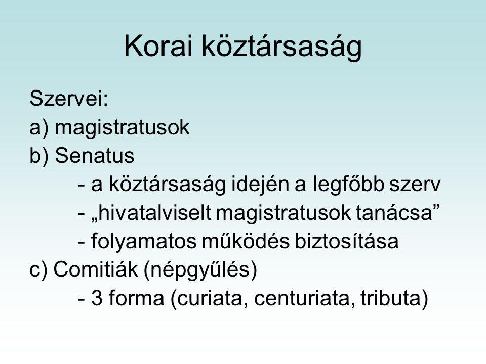 Korai köztársaság Szervei: a) magistratusok b) Senatus