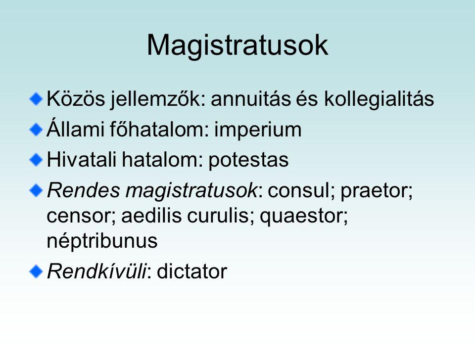 Magistratusok Közös jellemzők: annuitás és kollegialitás
