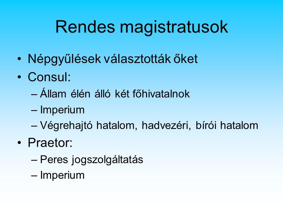 Rendes magistratusok Népgyűlések választották őket Consul: Praetor: