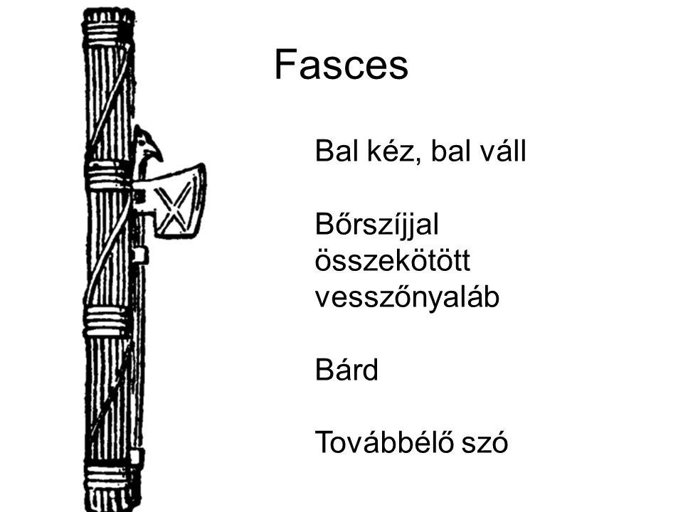 Fasces Bal kéz, bal váll Bőrszíjjal összekötött vesszőnyaláb Bárd