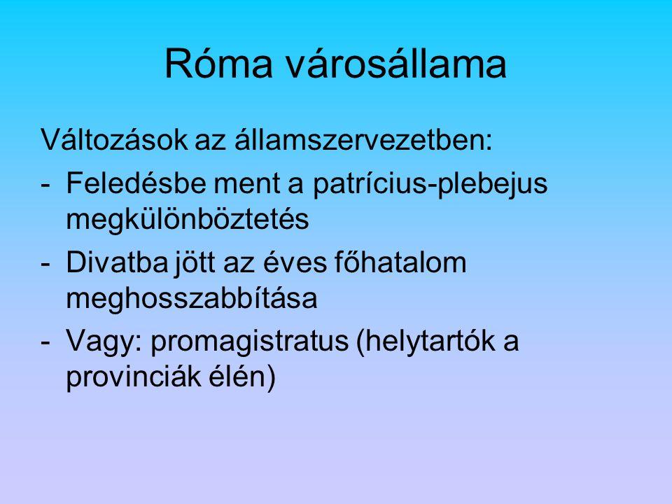 Róma városállama Változások az államszervezetben: