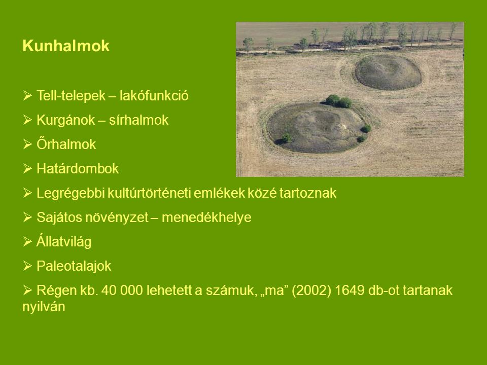 Kunhalmok Tell-telepek – lakófunkció Kurgánok – sírhalmok Őrhalmok