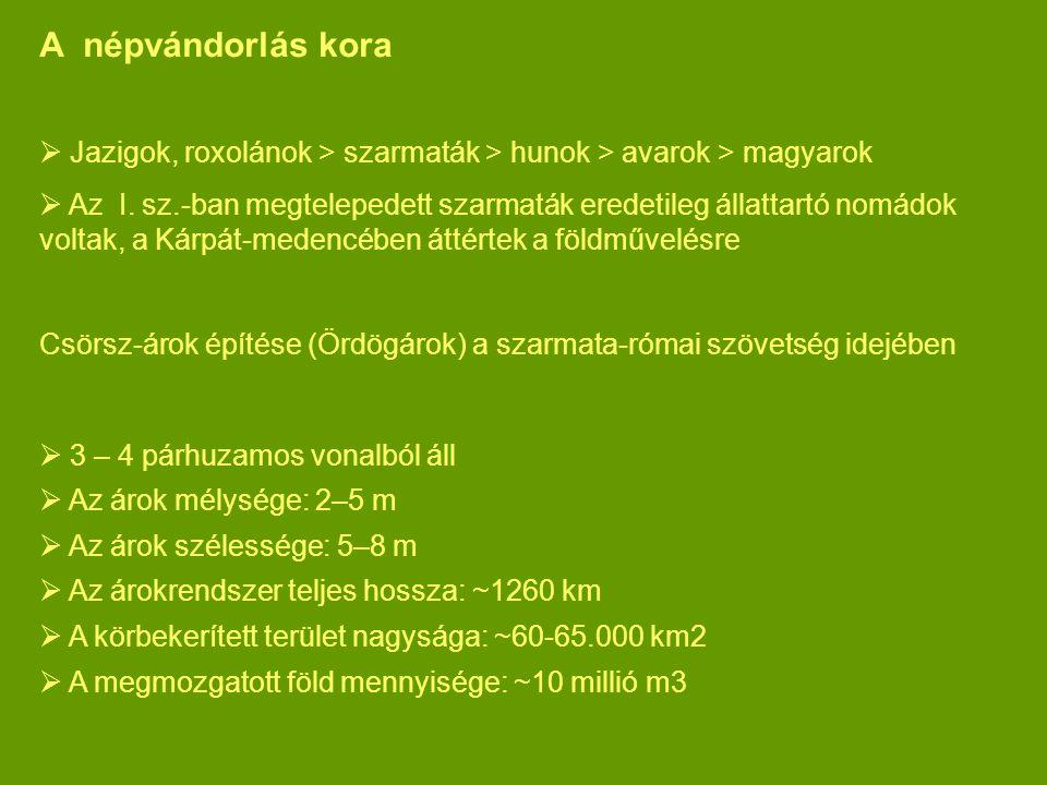 A népvándorlás kora Jazigok, roxolánok > szarmaták > hunok > avarok > magyarok.