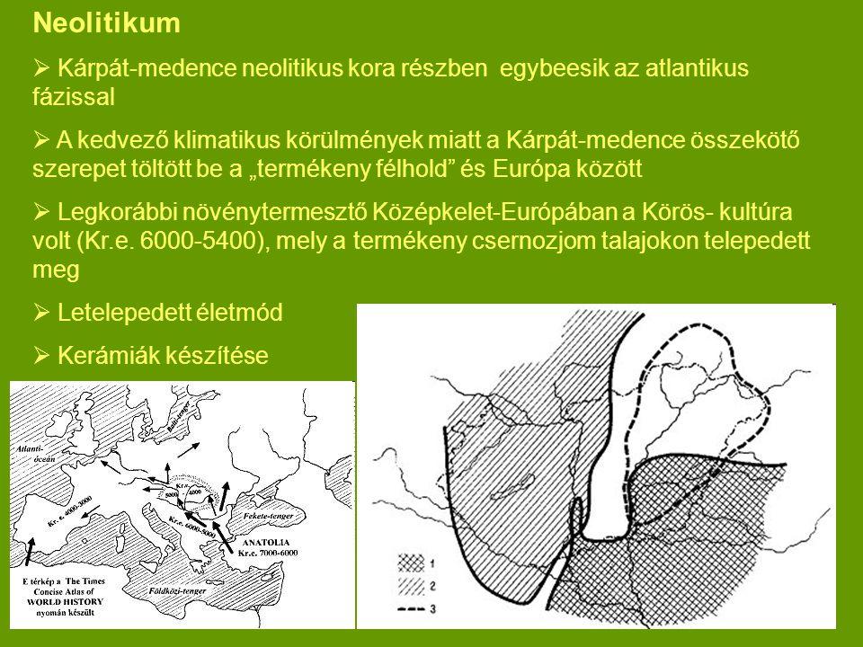 Neolitikum Kárpát-medence neolitikus kora részben egybeesik az atlantikus fázissal.