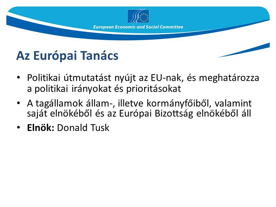 Az Európai Tanács Politikai útmutatást nyújt az EU-nak, és meghatározza a politikai irányokat és prioritásokat.