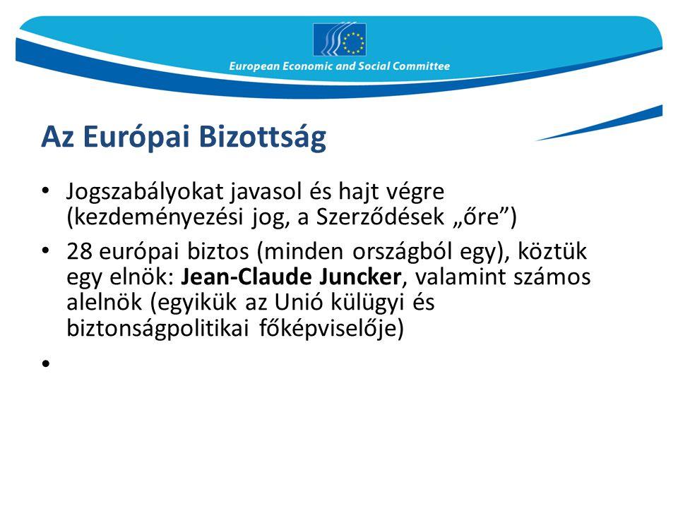 """Az Európai Bizottság Jogszabályokat javasol és hajt végre (kezdeményezési jog, a Szerződések """"őre )"""