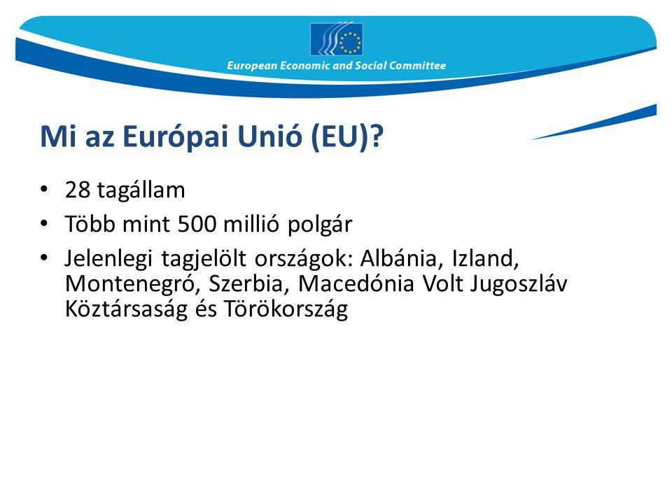 Mi az Európai Unió (EU) 28 tagállam Több mint 500 millió polgár