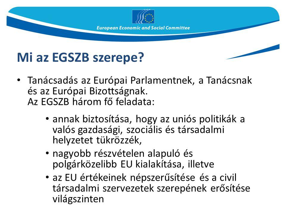 Mi az EGSZB szerepe Tanácsadás az Európai Parlamentnek, a Tanácsnak és az Európai Bizottságnak. Az EGSZB három fő feladata: