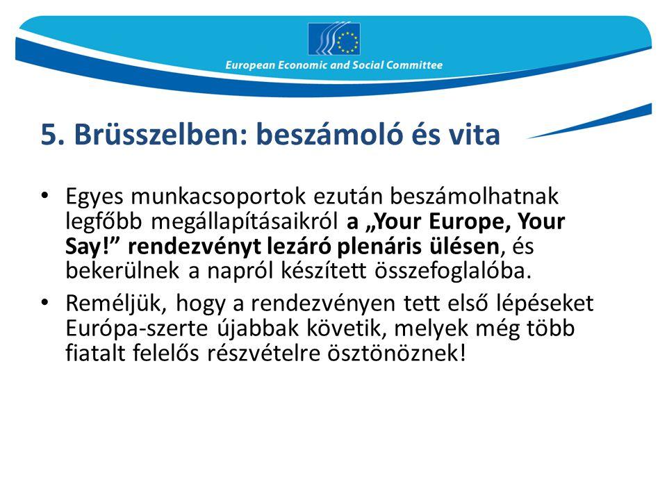 5. Brüsszelben: beszámoló és vita
