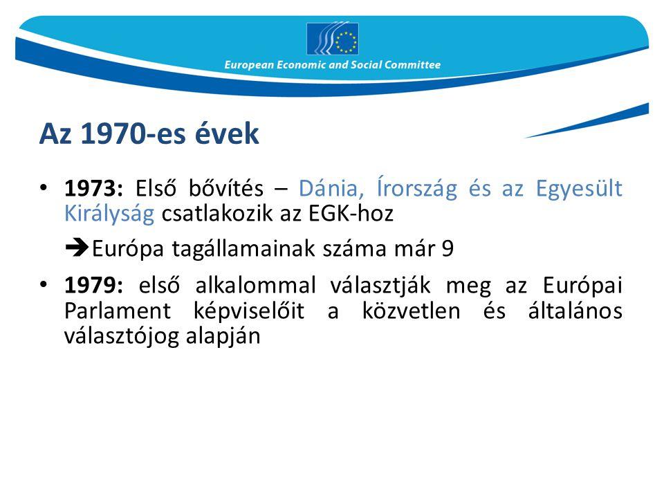Az 1970-es évek Európa tagállamainak száma már 9