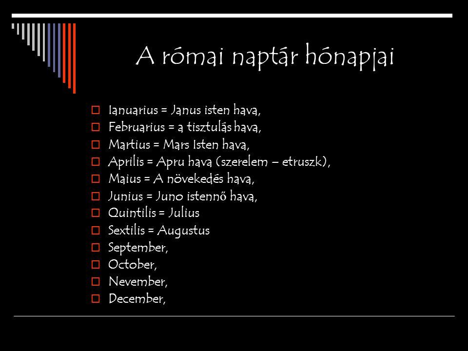 A római naptár hónapjai