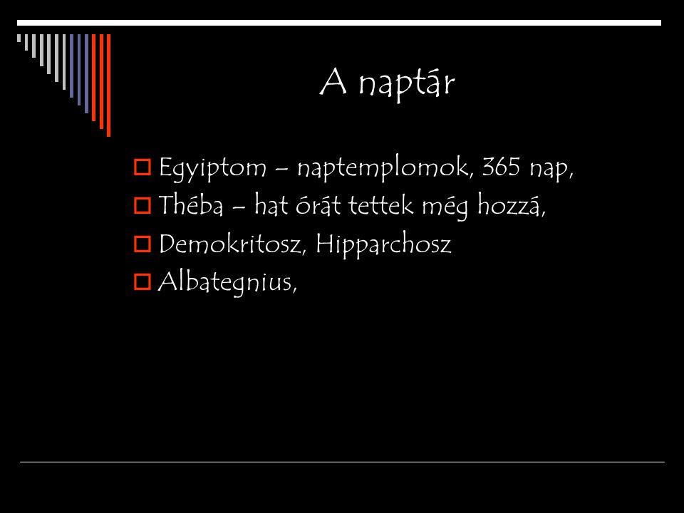 A naptár Egyiptom – naptemplomok, 365 nap,