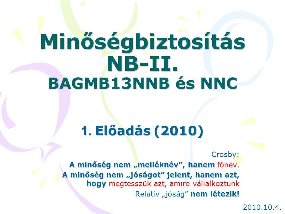 Minőségbiztosítás NB-II. BAGMB13NNB és NNC