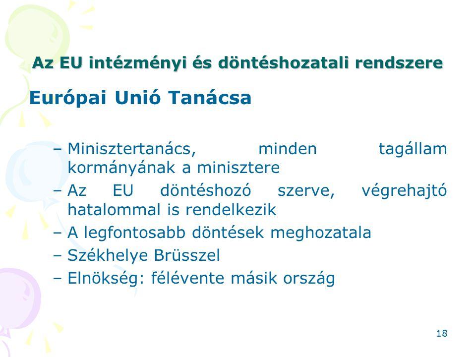 Az EU intézményi és döntéshozatali rendszere