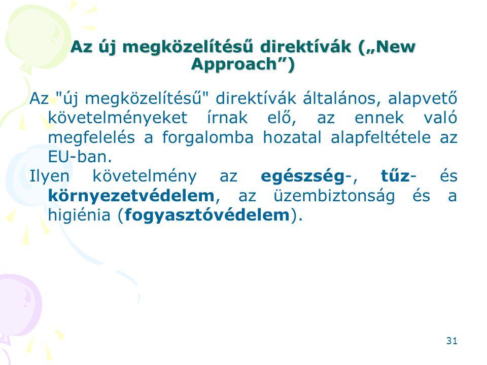 """Az új megközelítésű direktívák (""""New Approach )"""