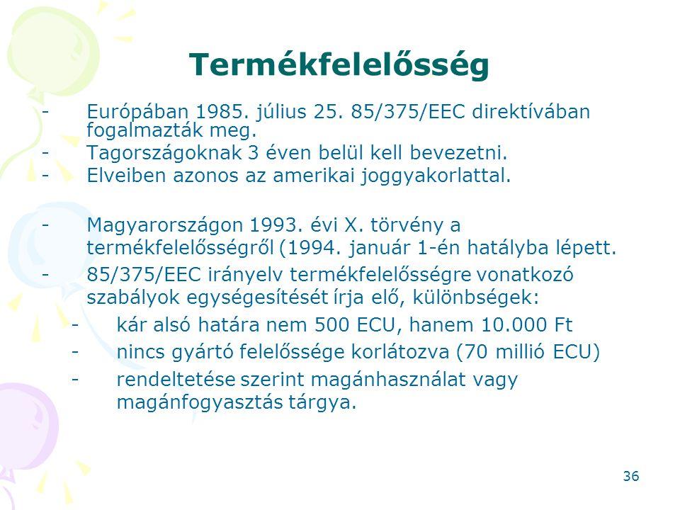 Termékfelelősség Európában 1985. július 25. 85/375/EEC direktívában fogalmazták meg. Tagországoknak 3 éven belül kell bevezetni.