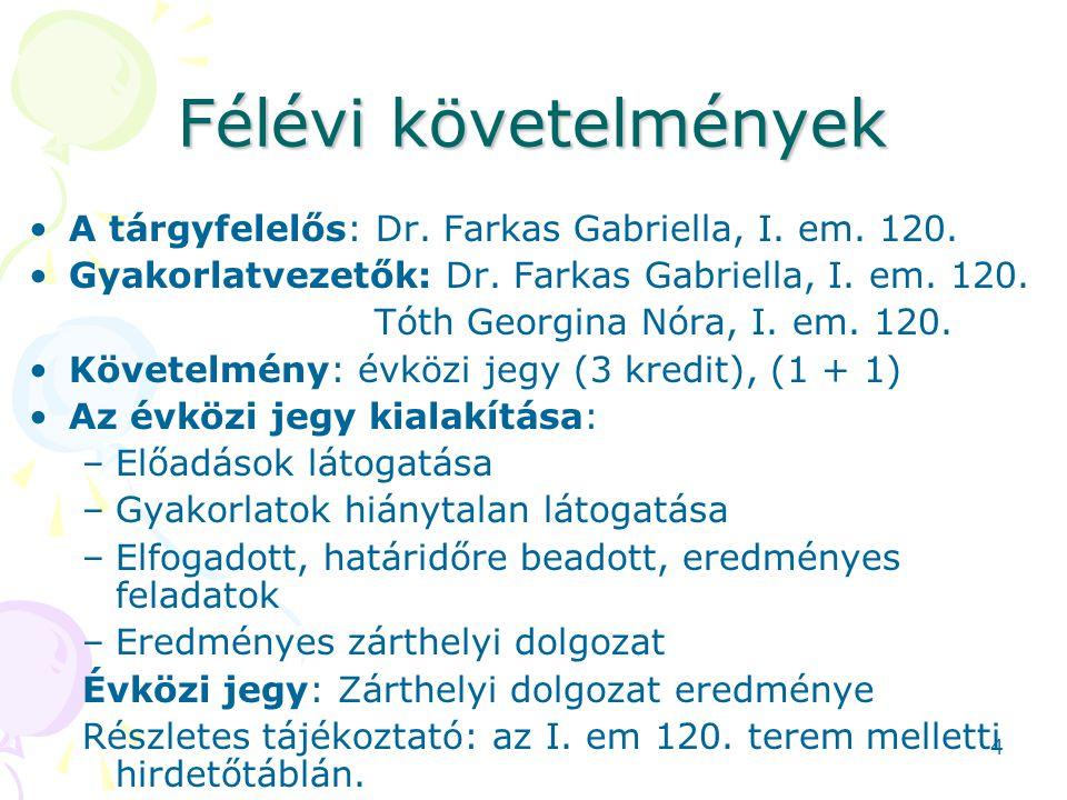 Félévi követelmények A tárgyfelelős: Dr. Farkas Gabriella, I. em. 120.