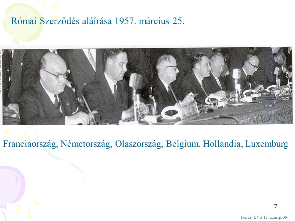 Római Szerződés aláírása 1957. március 25.