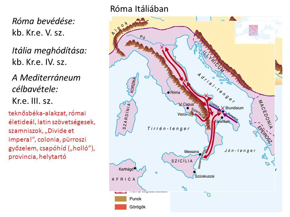 Róma Itáliában Róma bevédése: kb. Kr.e. V. sz. Itália meghódítása: