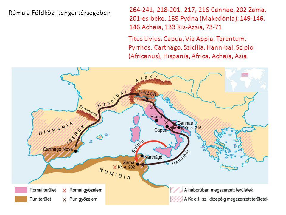 264-241, 218-201, 217, 216 Cannae, 202 Zama, 201-es béke, 168 Pydna (Makedónia), 149-146, 146 Achaia, 133 Kis-Ázsia, 73-71