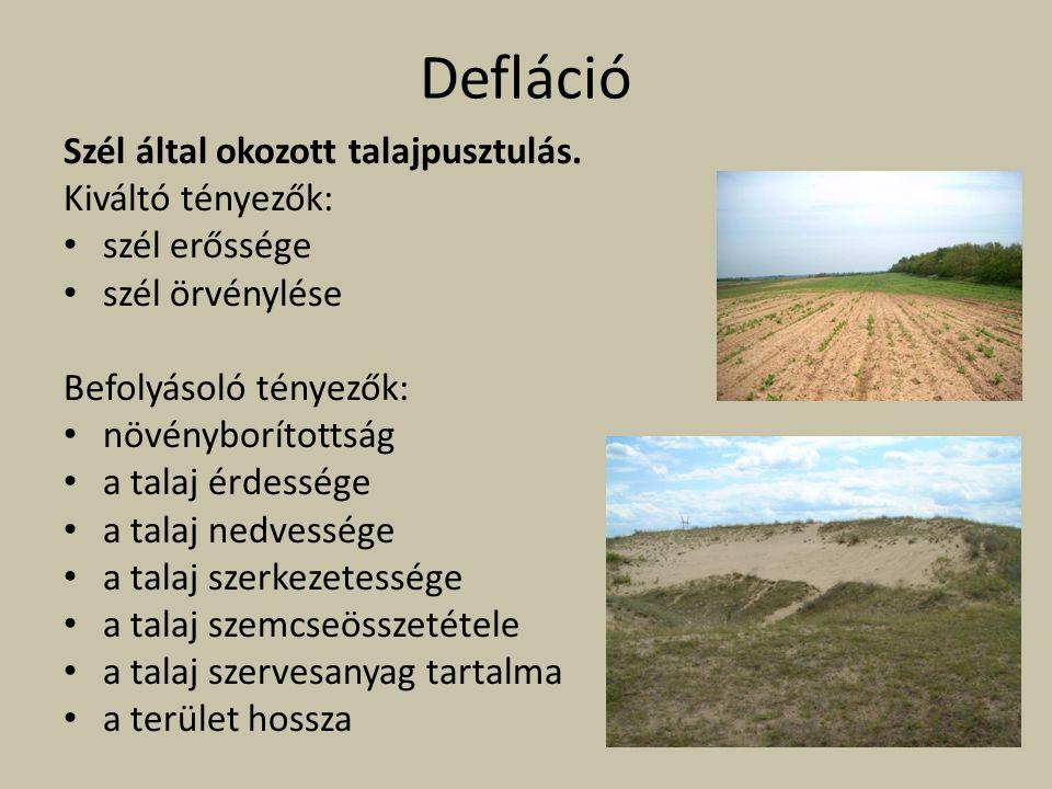 Defláció Szél által okozott talajpusztulás. Kiváltó tényezők: