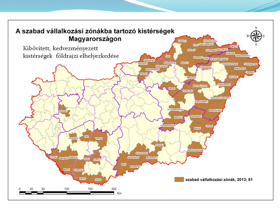 Kibővített, kedvezményezett kistérségek földrajzi elhelyezkedése