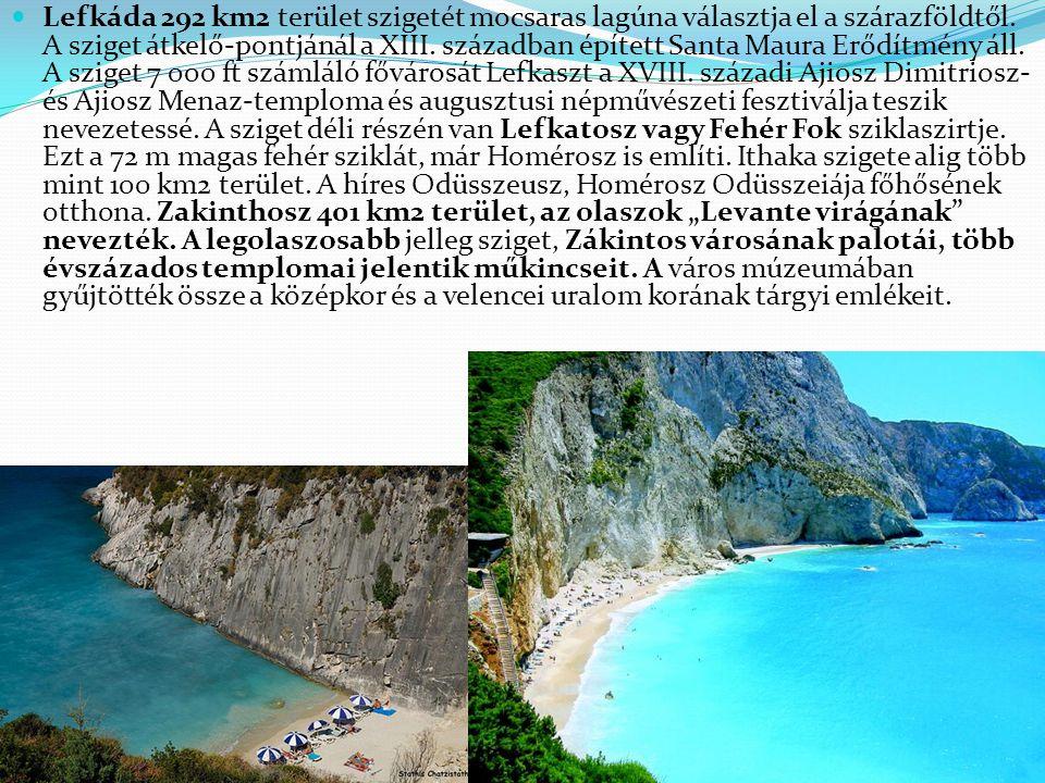 Lefkáda 292 km2 terület szigetét mocsaras lagúna választja el a szárazföldtől.