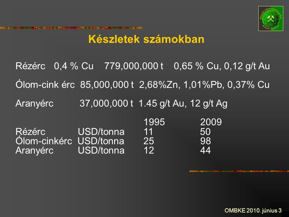 Készletek számokban Rézérc 0,4 % Cu 779,000,000 t 0,65 % Cu, 0,12 g/t Au. Ólom-cink érc 85,000,000 t 2,68%Zn, 1,01%Pb, 0,37% Cu.