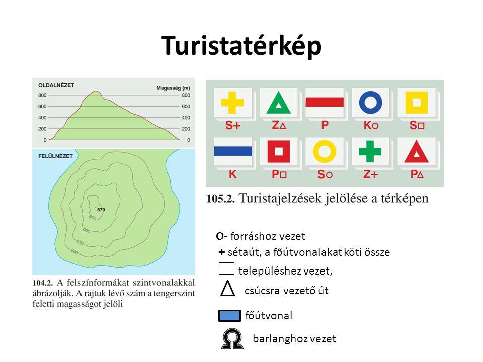 Turistatérkép O- forráshoz vezet + sétaút, a főútvonalakat köti össze