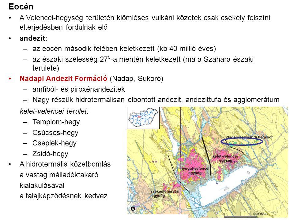 Eocén A Velencei-hegység területén kiömléses vulkáni kőzetek csak csekély felszíni elterjedésben fordulnak elő.