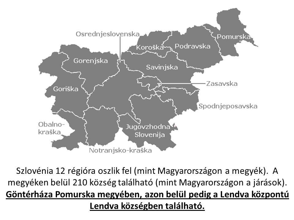 Szlovénia 12 régióra oszlik fel (mint Magyarországon a megyék)