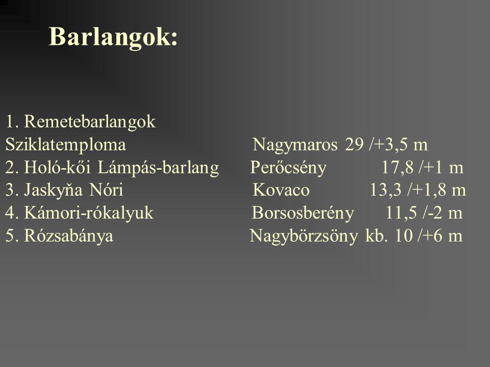 Barlangok: 1. Remetebarlangok Sziklatemploma Nagymaros 29 /+3,5 m