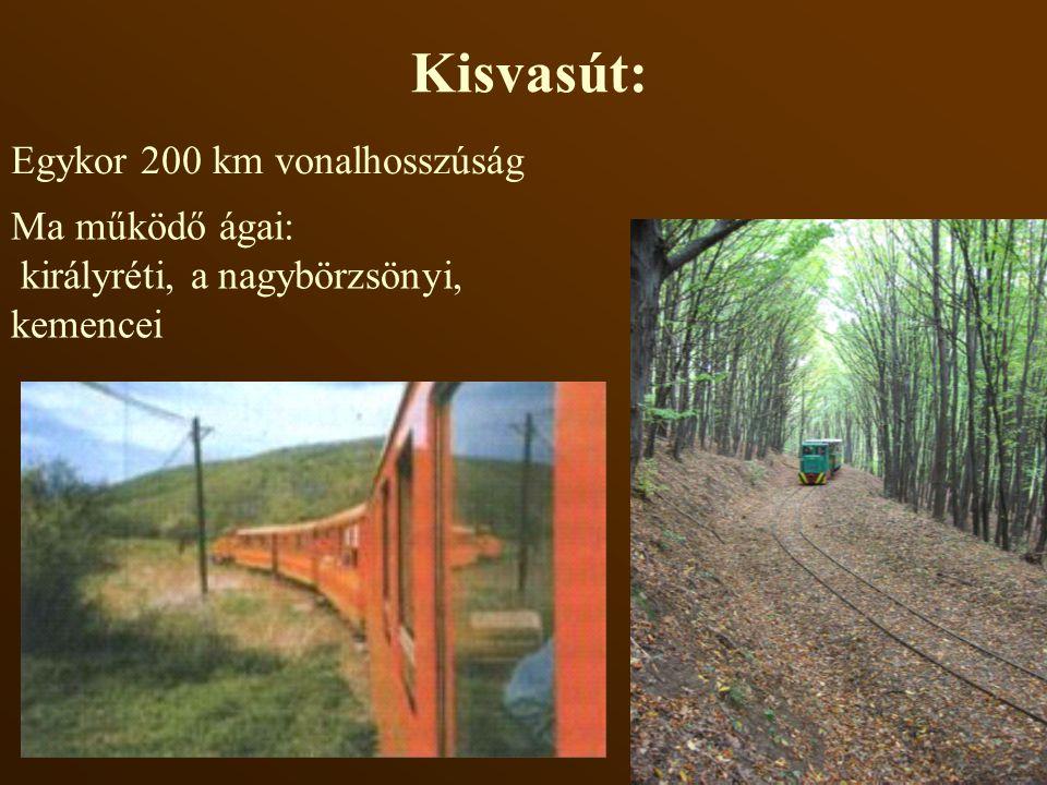Kisvasút: Egykor 200 km vonalhosszúság Ma működő ágai: