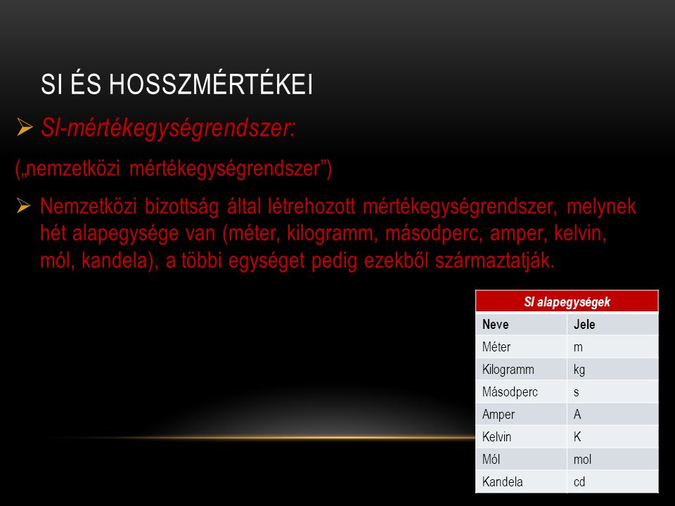 SI és hosszmértékei SI-mértékegységrendszer: