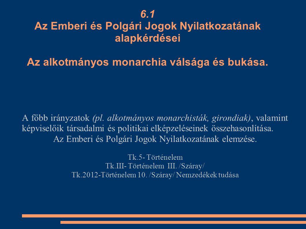 6.1 Az Emberi és Polgári Jogok Nyilatkozatának alapkérdései Az alkotmányos monarchia válsága és bukása.