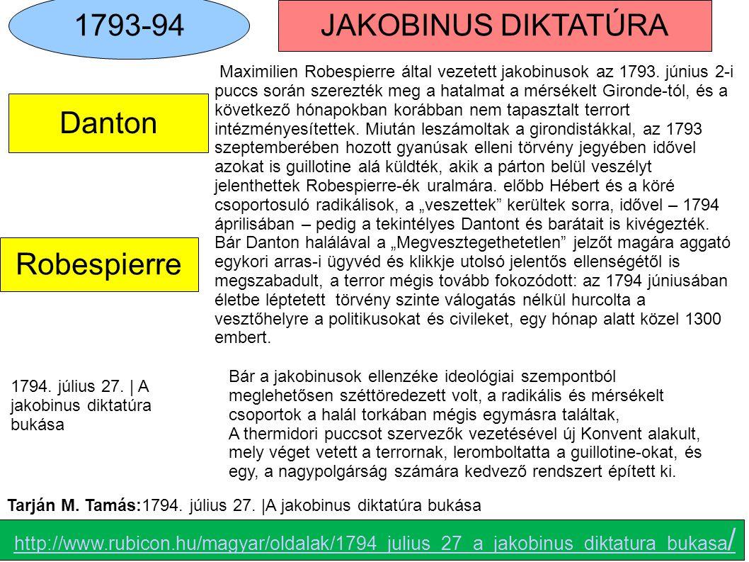 1793-94 JAKOBINUS DIKTATÚRA A Danton Robespierre