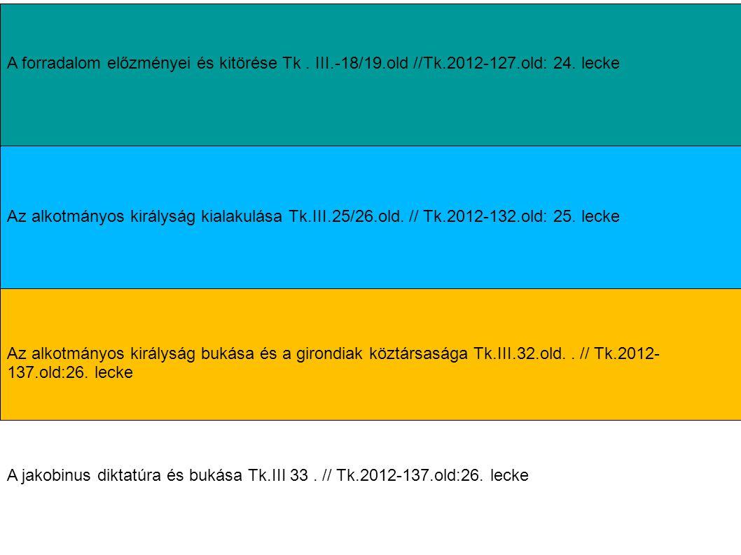 A forradalom előzményei és kitörése Tk . III.-18/19.old //Tk.2012-127.old: 24. lecke