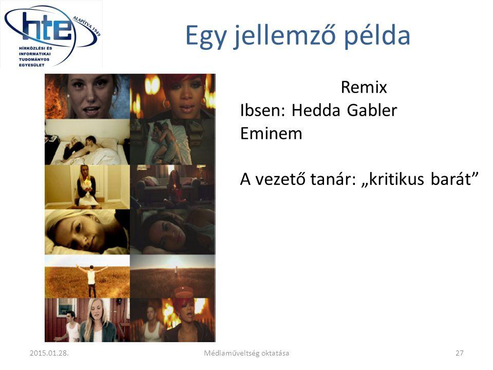 """Egy jellemző példa Remix Ibsen: Hedda Gabler Eminem A vezető tanár: """"kritikus barát 2015.01.28."""