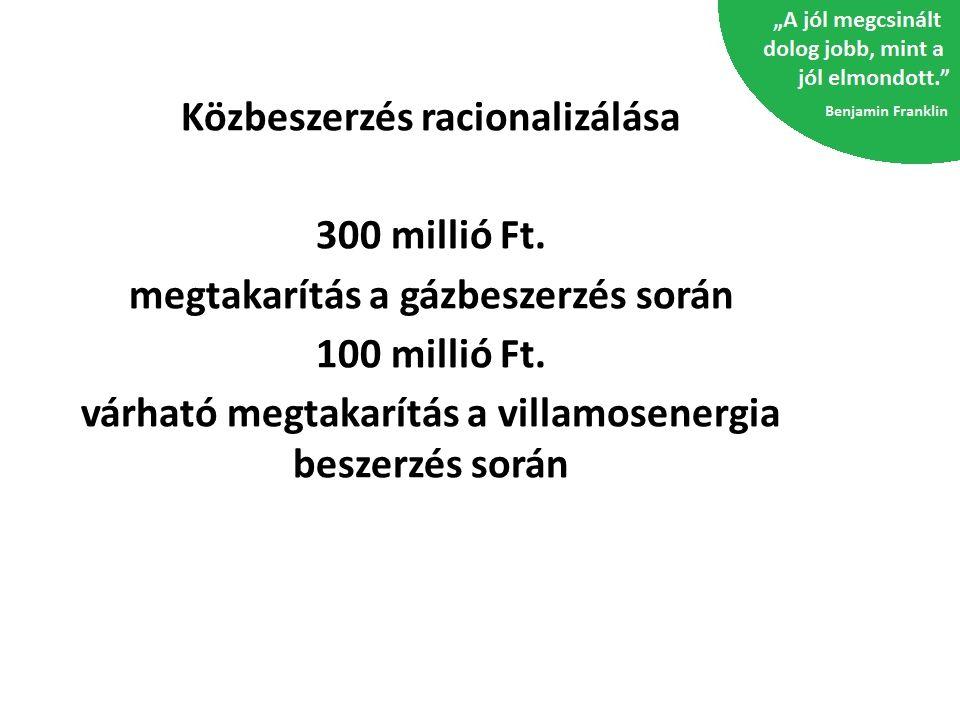 Közbeszerzés racionalizálása 300 millió Ft.