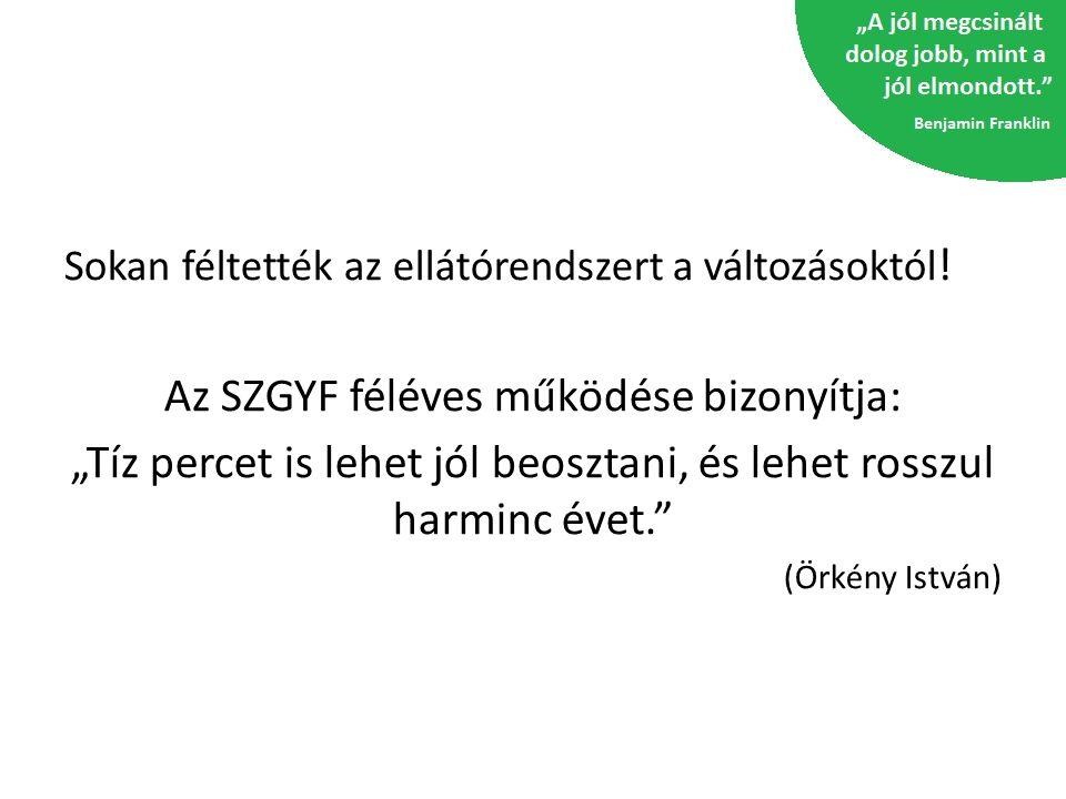 Az SZGYF féléves működése bizonyítja: