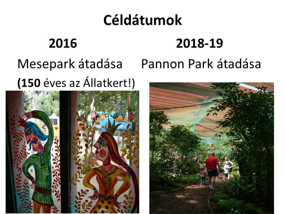 Céldátumok 2016 Mesepark átadása 2018-19 Pannon Park átadása