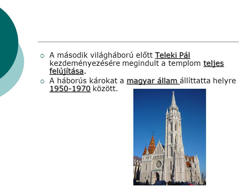 A második világháború előtt Teleki Pál kezdeményezésére megindult a templom teljes felújítása.