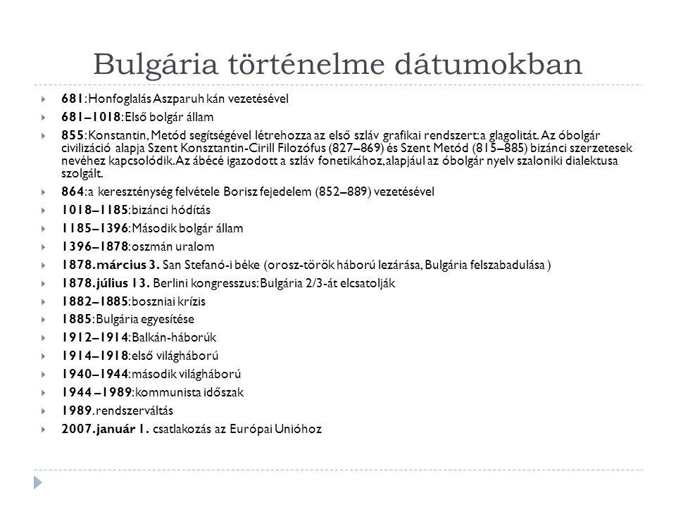 Bulgária történelme dátumokban