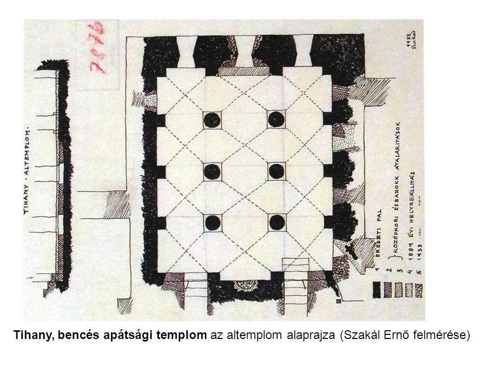 Tihany, bencés apátsági templom az altemplom alaprajza (Szakál Ernő felmérése)