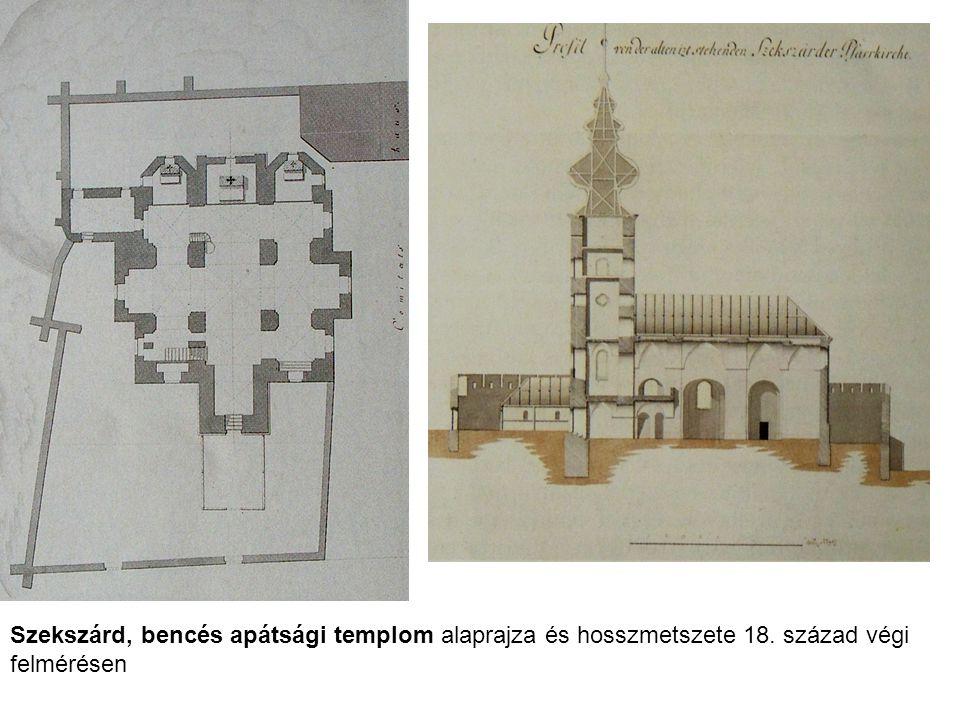 Szekszárd, bencés apátsági templom alaprajza és hosszmetszete 18
