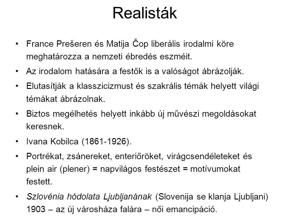 Realisták France Prešeren és Matija Čop liberális irodalmi köre meghatározza a nemzeti ébredés eszméit.