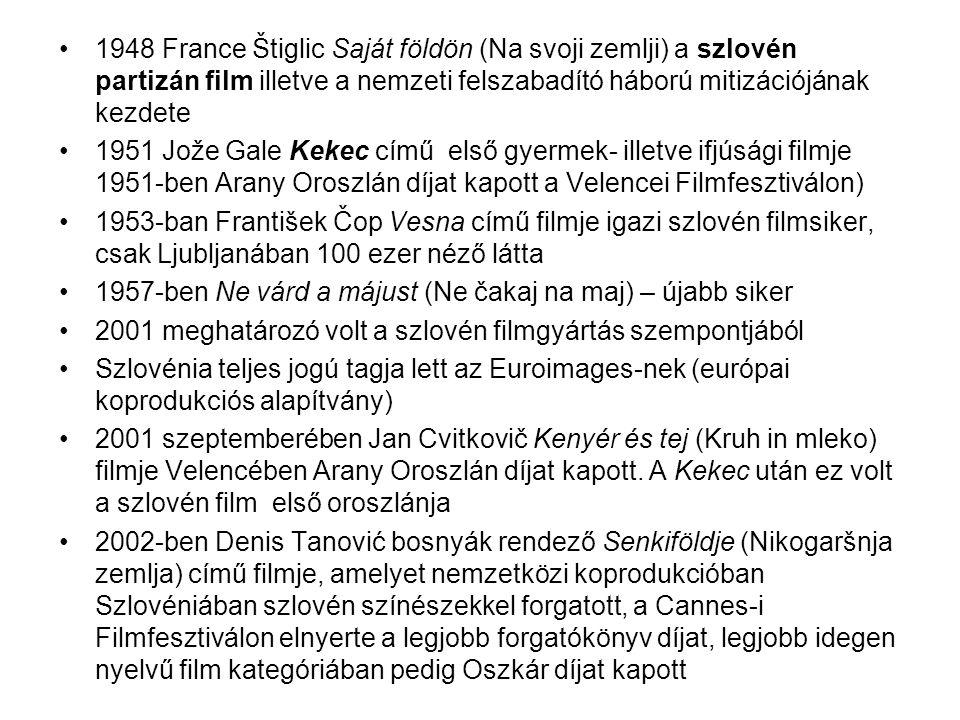 1948 France Štiglic Saját földön (Na svoji zemlji) a szlovén partizán film illetve a nemzeti felszabadító háború mitizációjának kezdete