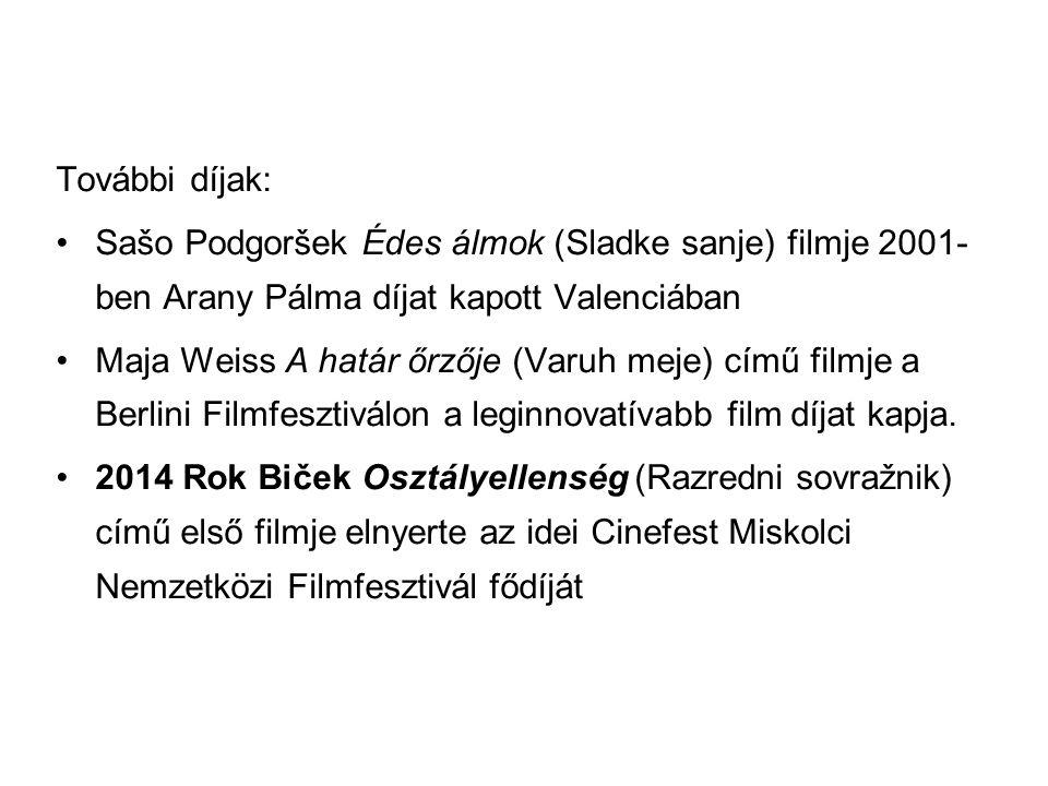 További díjak: Sašo Podgoršek Édes álmok (Sladke sanje) filmje 2001-ben Arany Pálma díjat kapott Valenciában.