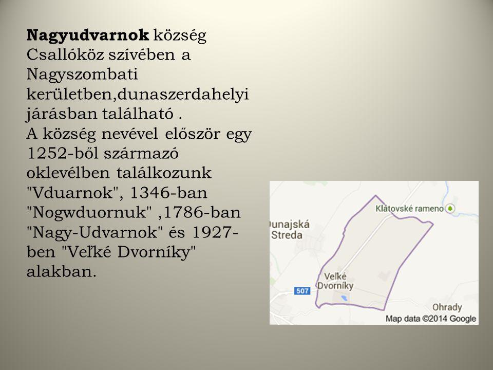 Nagyudvarnok község Csallóköz szívében a Nagyszombati kerületben,dunaszerdahelyi járásban található .