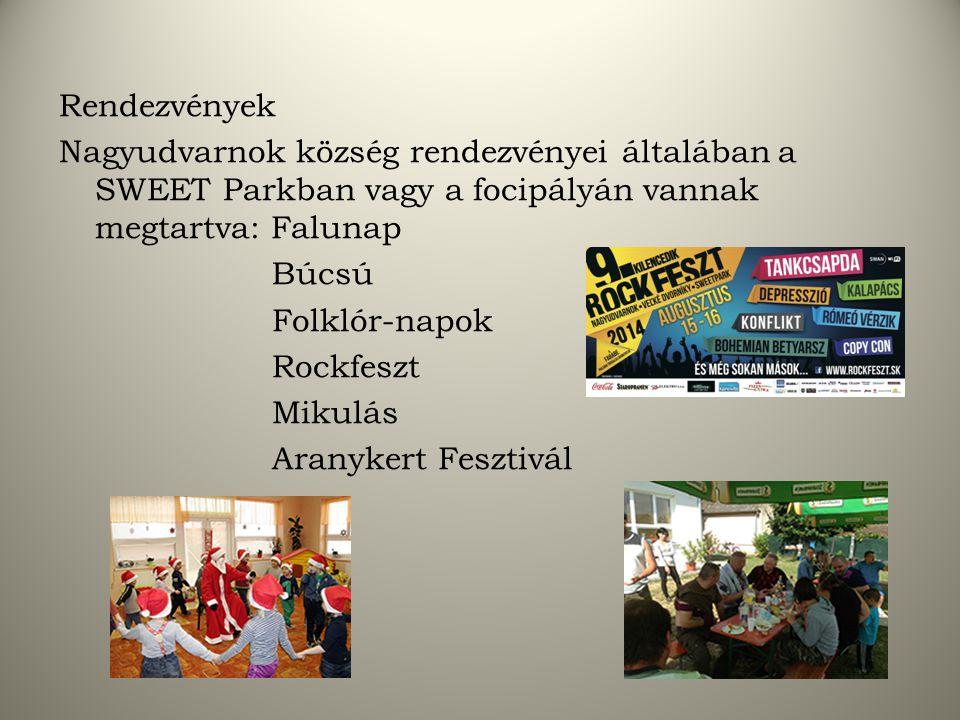 Rendezvények Nagyudvarnok község rendezvényei általában a SWEET Parkban vagy a focipályán vannak megtartva: Falunap Búcsú Folklór-napok Rockfeszt Mikulás Aranykert Fesztivál